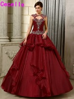 2017 New Ball Gown Burgundy Wedding Dresses Non White Colorful Bridal Gowns Vintage Wedding Gowns With