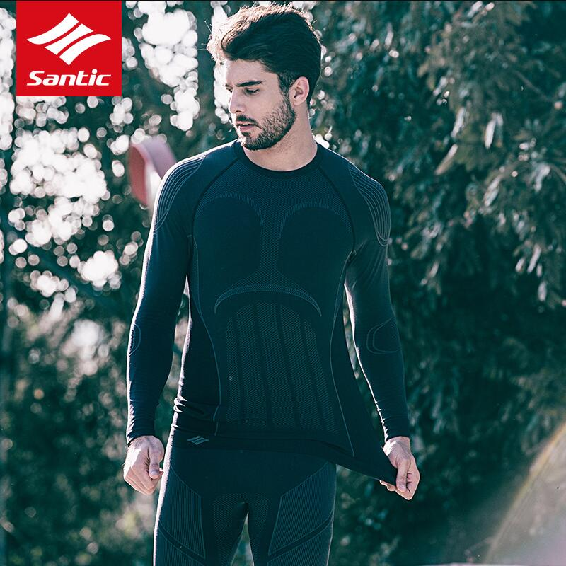 все цены на Santic Men Outdoor Sports Thermal Underwear Set Bike Running Winter Warm Long Johns Men Thermo Underwear Cycling Base Layers