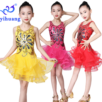 цены Latin Dance Dress Girls Kids Salsa Ballroom Dancewear Dresses Competition for Children Stage Performance Wear Sequined Dress