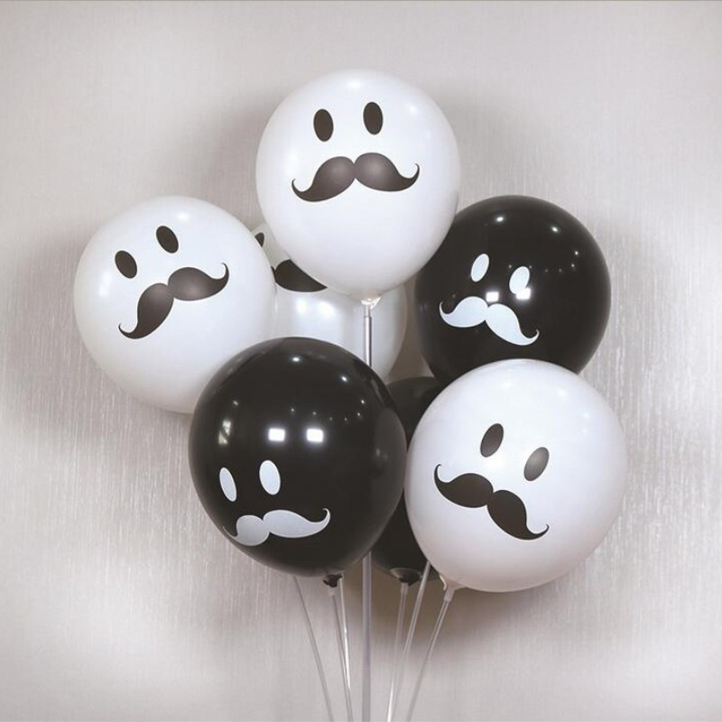 White balloon 50pcs/lot12 inch 2.8g spherical latex black beard ballon birthday party decorations kids balloons baby shower