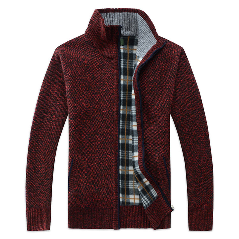 Men's Sweater Coat Stand Collar Zipper Cardigan Warm Slim Long Sleeve Thick Fashion Autumn Korean Casual Sweater For Men