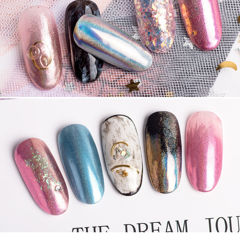 0 2g DIY Decorations Holographic Chameleon Nail Sequins Colorful Laser Glitter Powder Dust Nail Art Decorations Pigment in Nail Glitter from Beauty Health