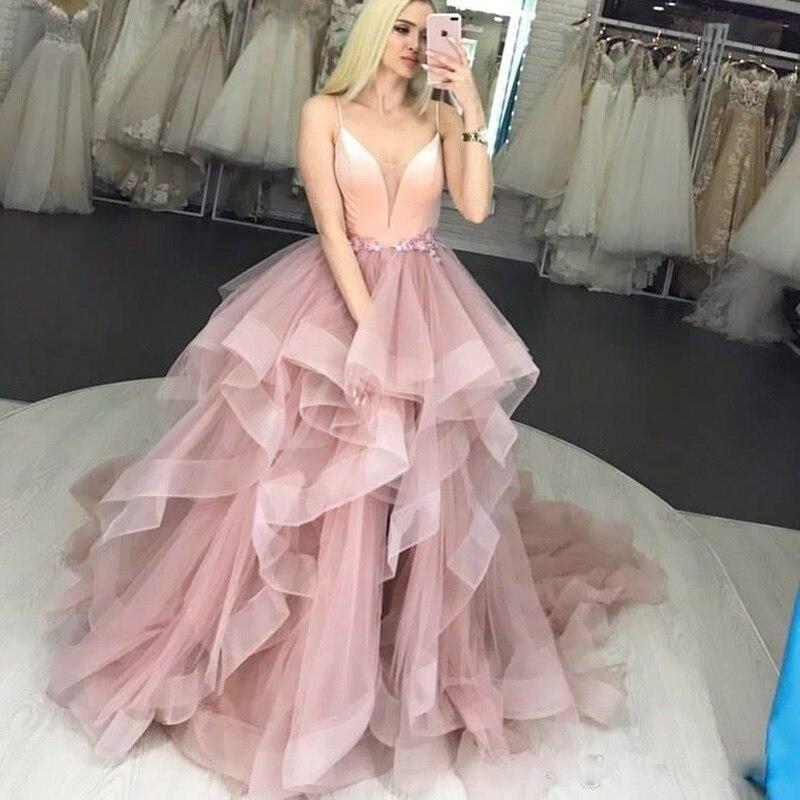 Grande taille Blush rose Spaghetti sangle robes de bal Appliques taille volants jupe à plusieurs niveaux robe de soirée pas cher Puffy tenue de soirée