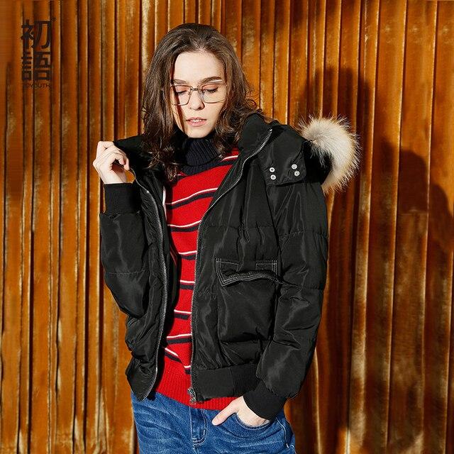 Toyouth пуховые пальто 2017 Зимние Женские однотонные свободные съемные с капюшоном меховые куртки на молнии