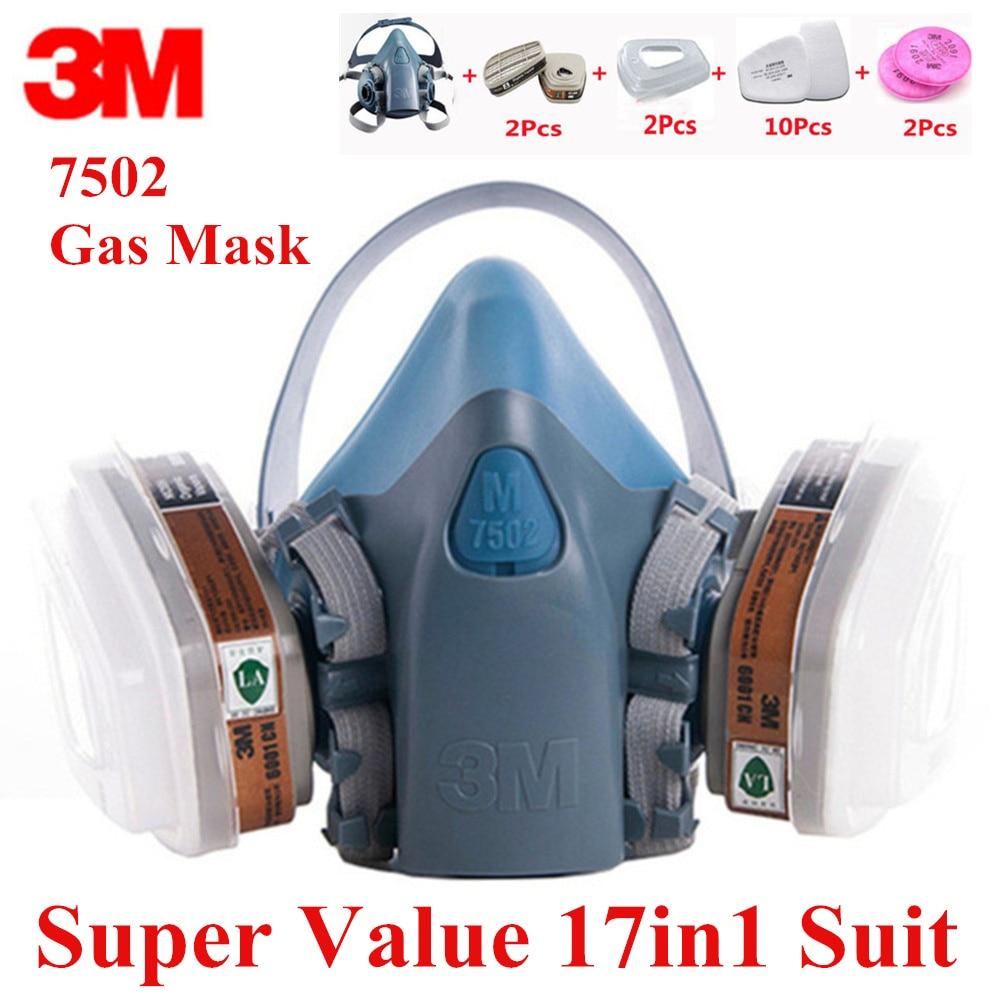 17 Dans 1 3M7502 Anti-Poussière Masque À Gaz Respirateur Silicone Anti-poussière Organique Vapeur Benzène PM2.5 Multi-but Protection Tool Set