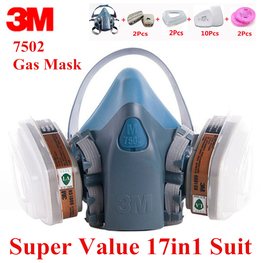 17 En 1 3M7502 Anti polvo respirador de máscara de Gas de silicona Anti-Polvo de Vapor orgánico benceno PM2.5 Multi-propósito protección de la herramienta
