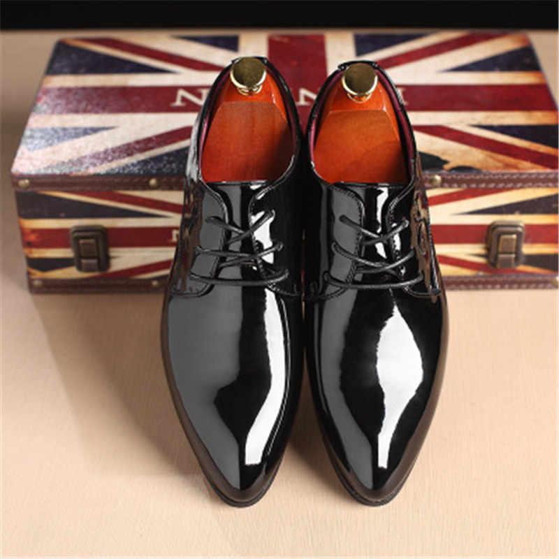 براءات الاختراع والجلود أكسفورد أحذية الرجال اللباس أحذية ملابس الجلدية مدببة الفاخرة الأعمال أحذية الزفاف 2018 جديد الرقص الأحذية