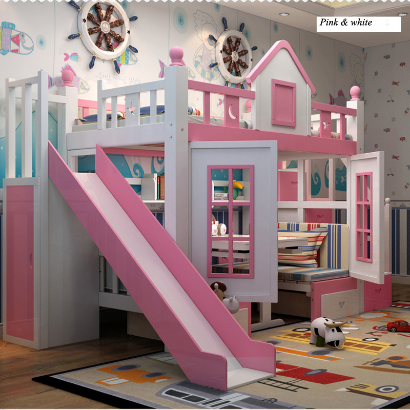 4  0128TB006 Fashionable kids bed room furnishings princess fortress with slide storages cupboard stairs double kids mattress HTB1
