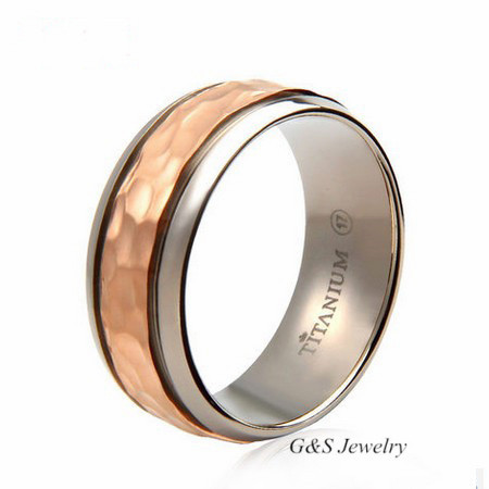 8mm fish scale hammered pure titanium ring for men for Mens fishing wedding bands