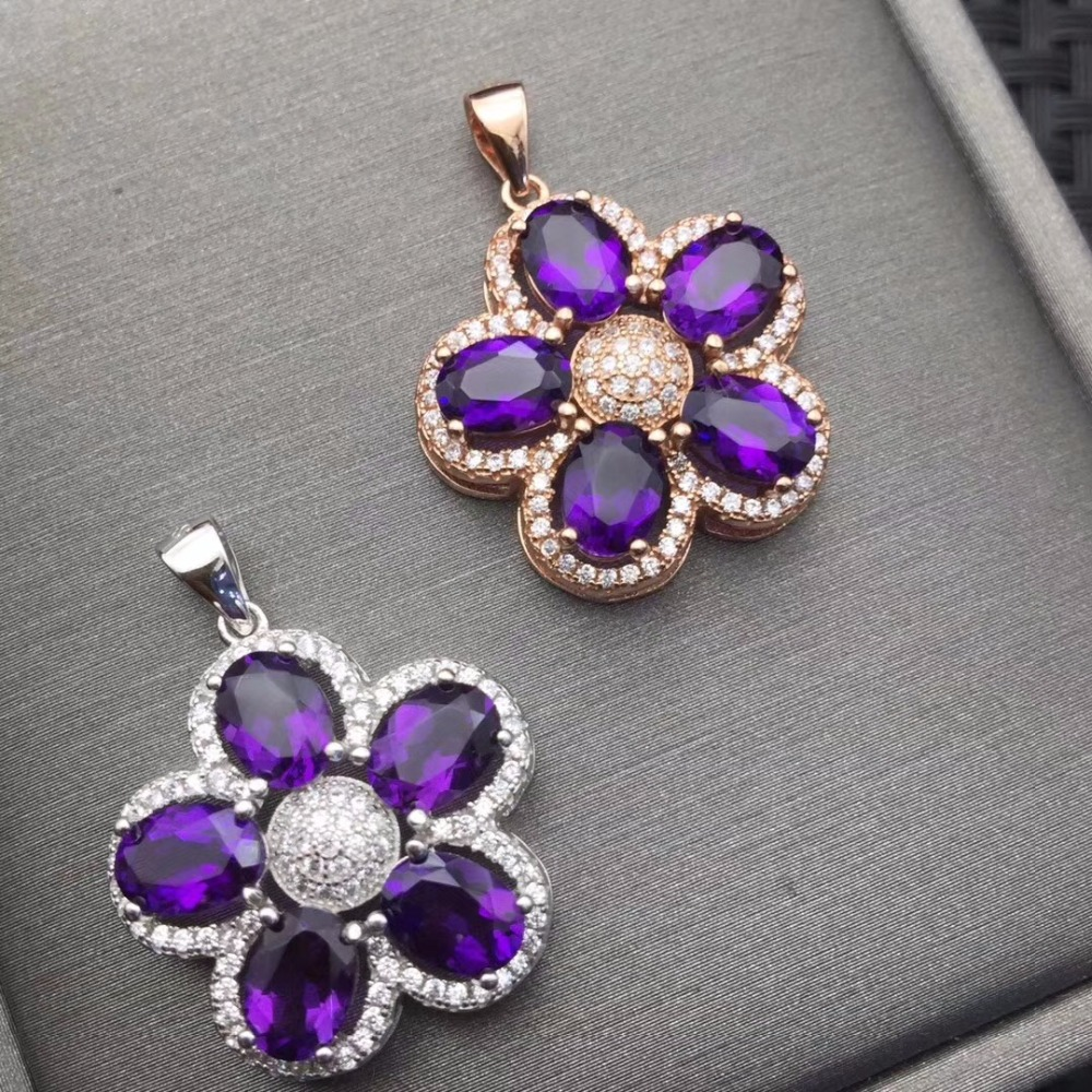 Natural Amethyst Necklace wholesale flower shape 925 silver making two color selection mailPendants