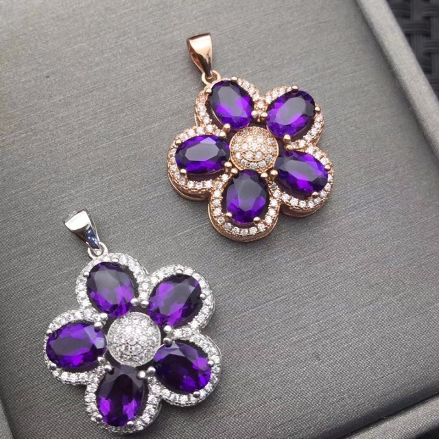 Natural Amethyst Necklace wholesale flower shape 925 silver making two color selection mail