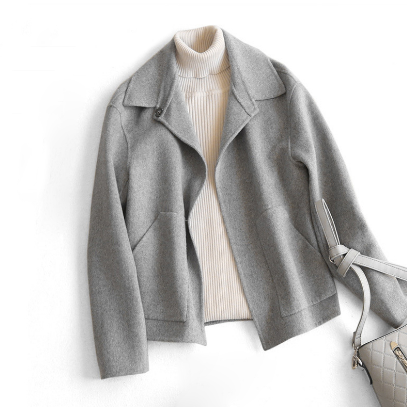 Woolen Coat Short Jacket Spring Turn down Collar Solid Loose Woolen Blends