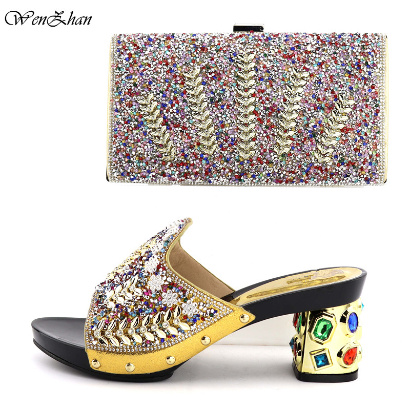 WENZHAN Nice Looking Italian Shoes And Clutch Bags With Colorful Rhinestone Decoration Shoes and Bag Sets For Party T711-23WENZHAN Nice Looking Italian Shoes And Clutch Bags With Colorful Rhinestone Decoration Shoes and Bag Sets For Party T711-23