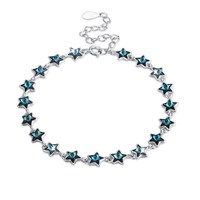 INALI 925 Sterling Silver Bracelet Twinkle Star Crystal Bracelets Romantic Jewelry For Women With Link Chain