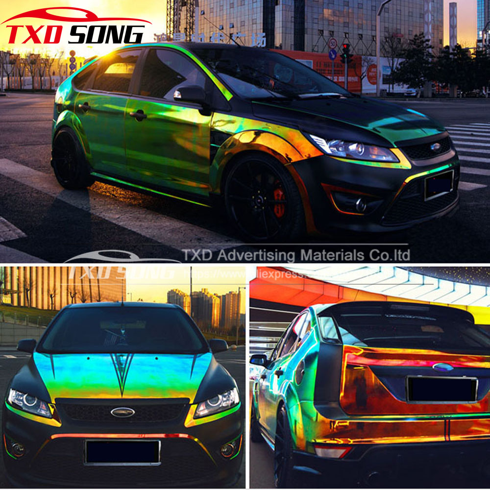 135 CM * 20 M/Lot Prime Arc Miroir film Holographique Film Arc-En-chrome vinyle de voiture wrap pour Automobile extérieur par fedex