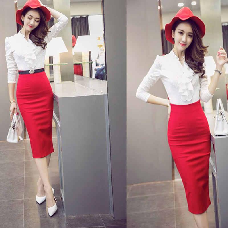 ... 2018 юбка-карандаш Женская облегающая Модная высокая талия эластичная  офисная юбка красный черный разрез женские ... b7c89c1c38b