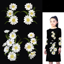 1Group=4Pcs Beautiful Sun Flower Organza Embroidered Large Applique Guipure Patch Lace Fabric Sew Clothes Decotive Accessories