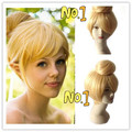 Free Shipping Princess Tinker Bell Wig Girl's Blonde Hair Straight Short 35cm Anime Cosplay Rapunzel Wigs  exported to Europe