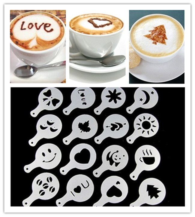 HARKO,4Pcs/set Coffee Milk Cake Cupcake Stencil Template Mold Coffee Barista Cappuccino Template Strew Pad Duster Spray Tools