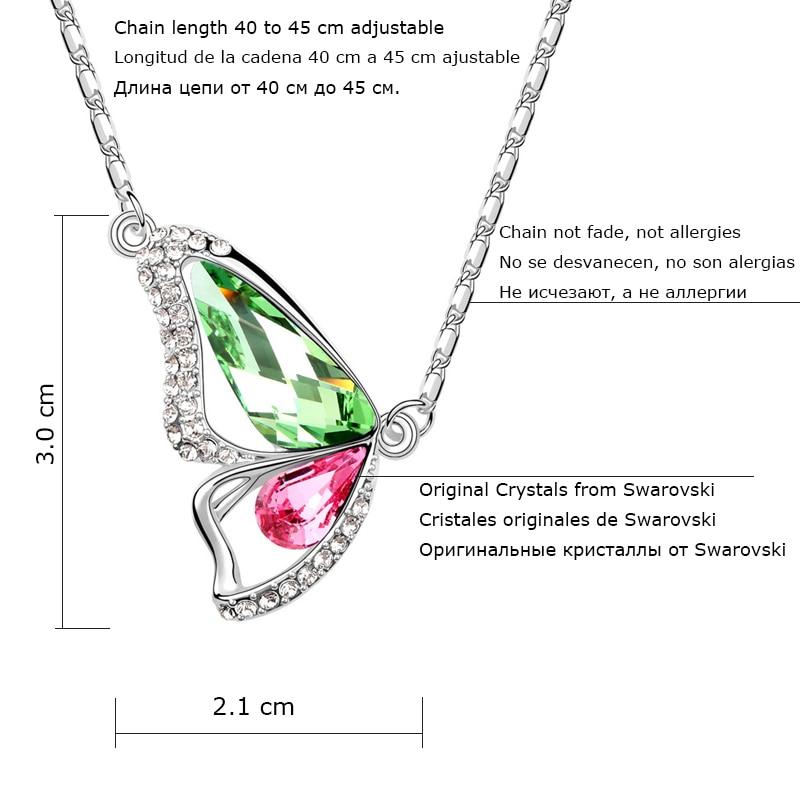 BeBella Кристальное ожерелье с подвеской в виде бабочки с кристаллами Swarovski для женщин, девочек и детей, рождественское модное ювелирное изделие, подарок