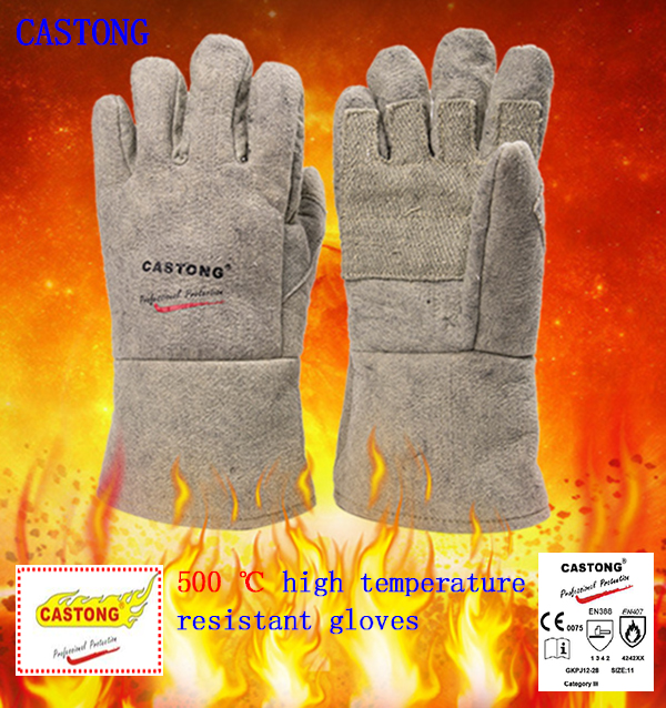 CASTONG 500 degrees high temperature gloves Para-aramid Palm thickened fireproof gloves Wearable Anti-scalding safety glove