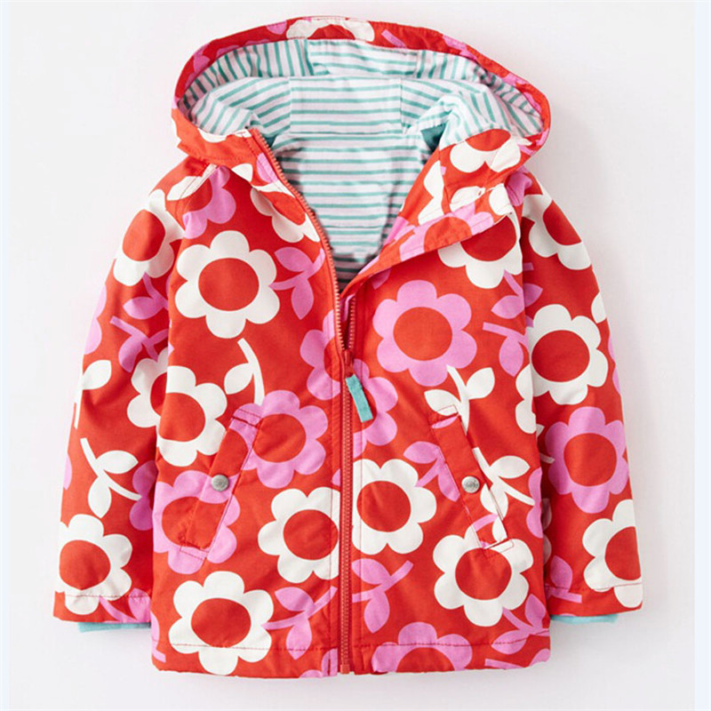 2016 new Girls Jackets with hooded Flower Outerwear girl Kids coat Children clothing kids 3-8Y Raincoat Spring waterproof T0004 цена и фото