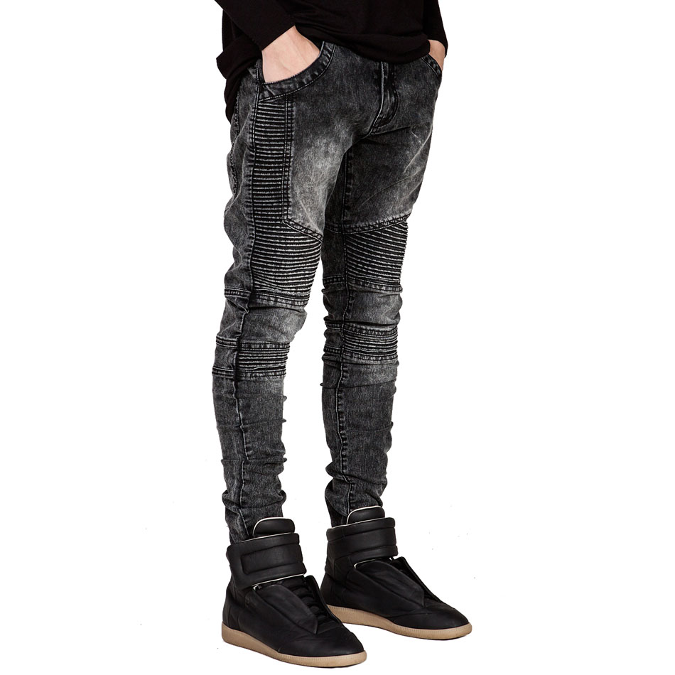 2019 Men   Jeans   Stretchy Ripped Skinny Biker   Jeans   Runway Slim Racer Biker   Jeans   Fashion Hiphop Casual   Jeans   For Men Plus size 42