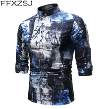 men's youth spring and autumn printed long-sleeved daily breathable linen shirt with stand-up collar floral shirt European size 2019men slim plain long sleeved fashionable stand up collar shirt and shirt