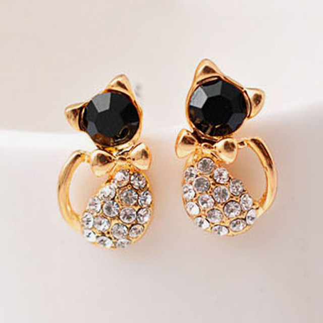 Cute Crystal Bow Gem Kitty Cat  Earrings For Women
