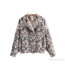 2018 Otoño Invierno mujer chaqueta con estampado de serpiente Casual Biker chaqueta bolsillos moda manga larga motores abrigo Streetwear