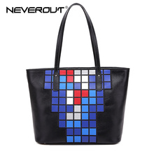 NeverOut Genuine Leather Women Casual Tote Bags Female Real Brand Handbags Style Magic Square Shoulder Bags Lady Top-Handle Bag