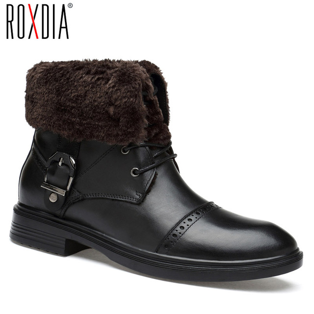 35b0080134 US $58.91 57% OFF|ROXDIA shoes winter boots men genuine leather warm  waterproof snow ankle boot man work shoes black plus size 39 48 RXM077-in  Snow ...