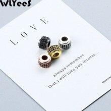 WLYeeS 2pcs Black Zircon Cylinder Copper Spacer beads 8mm Geometry Metal Pendant Loose bead Handmade Jewelry bracelet making DIY