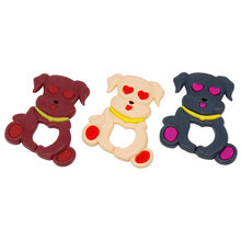 3 Colors Cartoon Dog Baby Teether Cute Toys BPA Free DIY Nursing Teething Pendants Food Grade Silicone Teether(China)