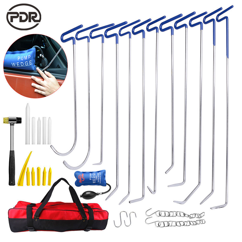 PDR Tools New Hooks Push Rods Hammer Tap Down Tool Set For Automotive Repair Car Dent