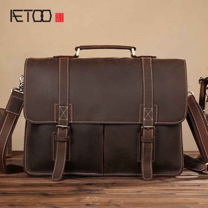 AETOO Retro mad horse leather men 's handbag shoulder bag leather casual briefcase first layer cowhide business computer bag велосипед challenger desperado fs 26 d сине оранжевый 18