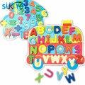 Montessori juguetes de Madera Alfanumérico del cabrito Suave Conjunto de Juguetes Rompecabezas de Aprendizaje Matemático y 26 alfabeto forma de aprendizaje rompecabezas juego