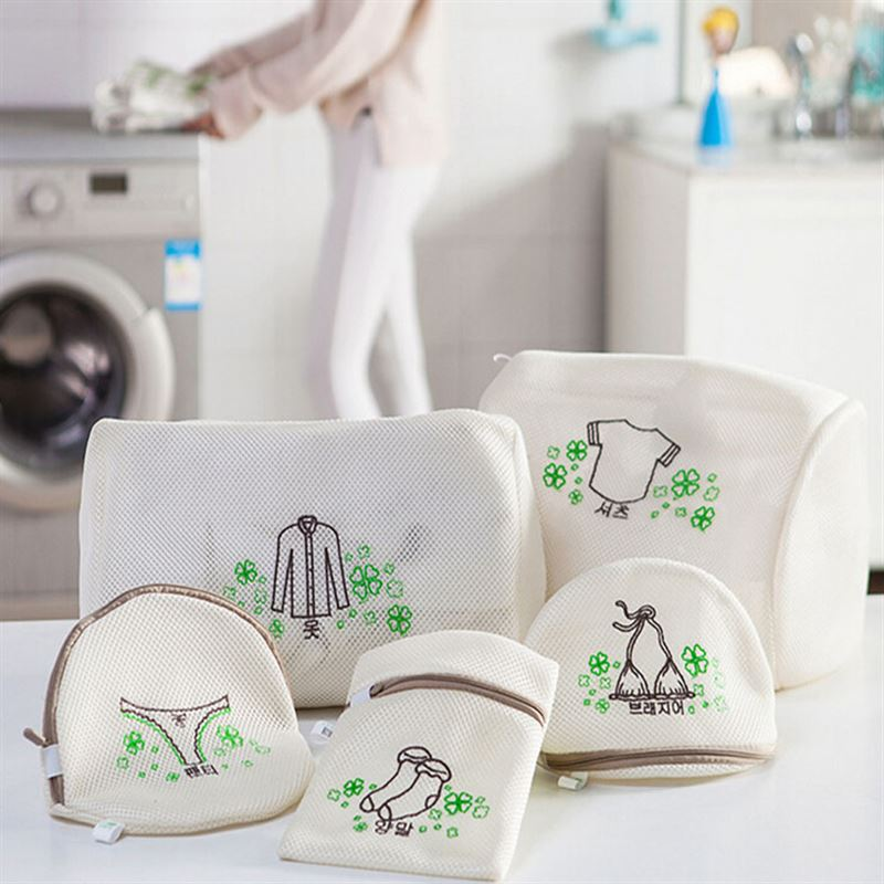 2018 New Embroidery Travel Bags Zipper Mesh Double Protection Laundry Wash Bag Pants Bra Tops Underwear Socks Storage&Organizer