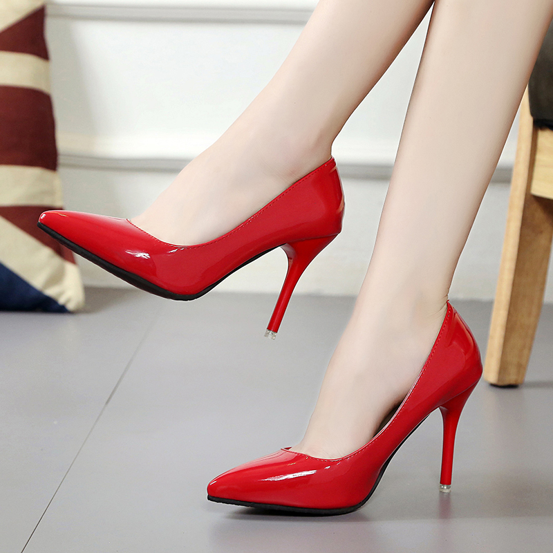 2017 Spring Autumn Sexy Thin High Heel Shoes Pointed Toe Patent Leather Slip On Women Pumps Shoes Ladies Single Shoes Party XC75 the good pub guide 2013
