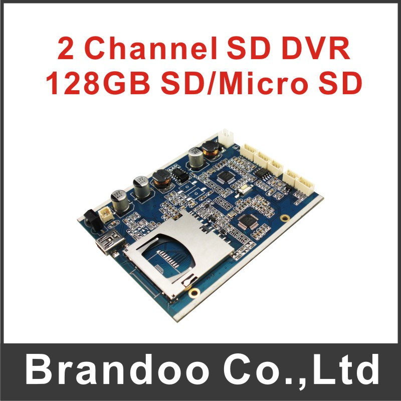 Free shipping 2 channel CCTV DVR module, 128GB SD DVR PCBA from Brandoo