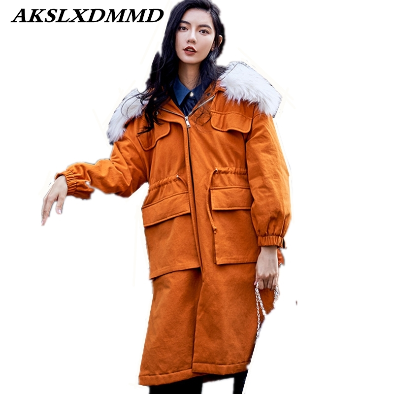 2019 Women Winter Cotton Coat Hooded Fur Collar Outerwear Loose Large Size Winter Cotton Jacket Thick Warmth Long   Parkas   CW094