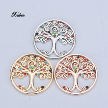 1pc sale Christmas tree coin disc dream catcher people mix color my 33mm coins copy frame pendant 2018 Jewelry rose gold(China)