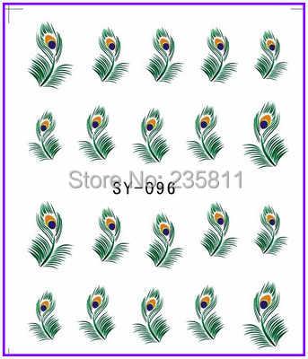 1X Nail Art woda transfery naklejki naklejki do paznokci naklejki naklejki woda naklejka pawie pióro upierzenie SY96