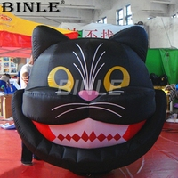 Funny Halloween inflatable black cat head balloon inflatable cat cartoon for decoration
