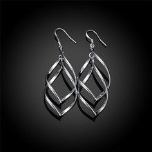 Elongated-Oval Twist Sterling Silver French Wire Earrings