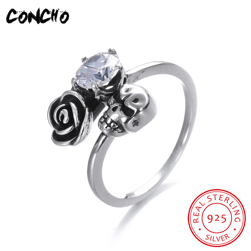 2018 Top Fashion New Bands Skeleton Zircon Women Party Anel Feminino Concho Jewelry 925 Sterling Skull Shape Rings For 2018 Top Fashion New Bands Skeleton Zircon Women Party Anel Feminino Concho Jewelry 925 Sterling Skull Shape Rings For
