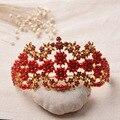 2016 Clásico de Oro Perla de la Corona Nupcial Tiaras De Cristal para Las Mujeres de La Vendimia Roja Pelo de La Boda Accesorios de La Joyería