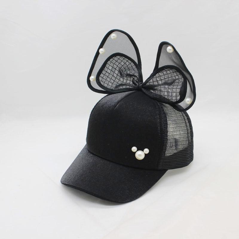 Casual Children Girls   Baseball     Cap   Kids pearl Bow   Baseball     Cap   Summer Rabbit Ear Sun Hat Girls Snapback   Caps   for 2-8 years old