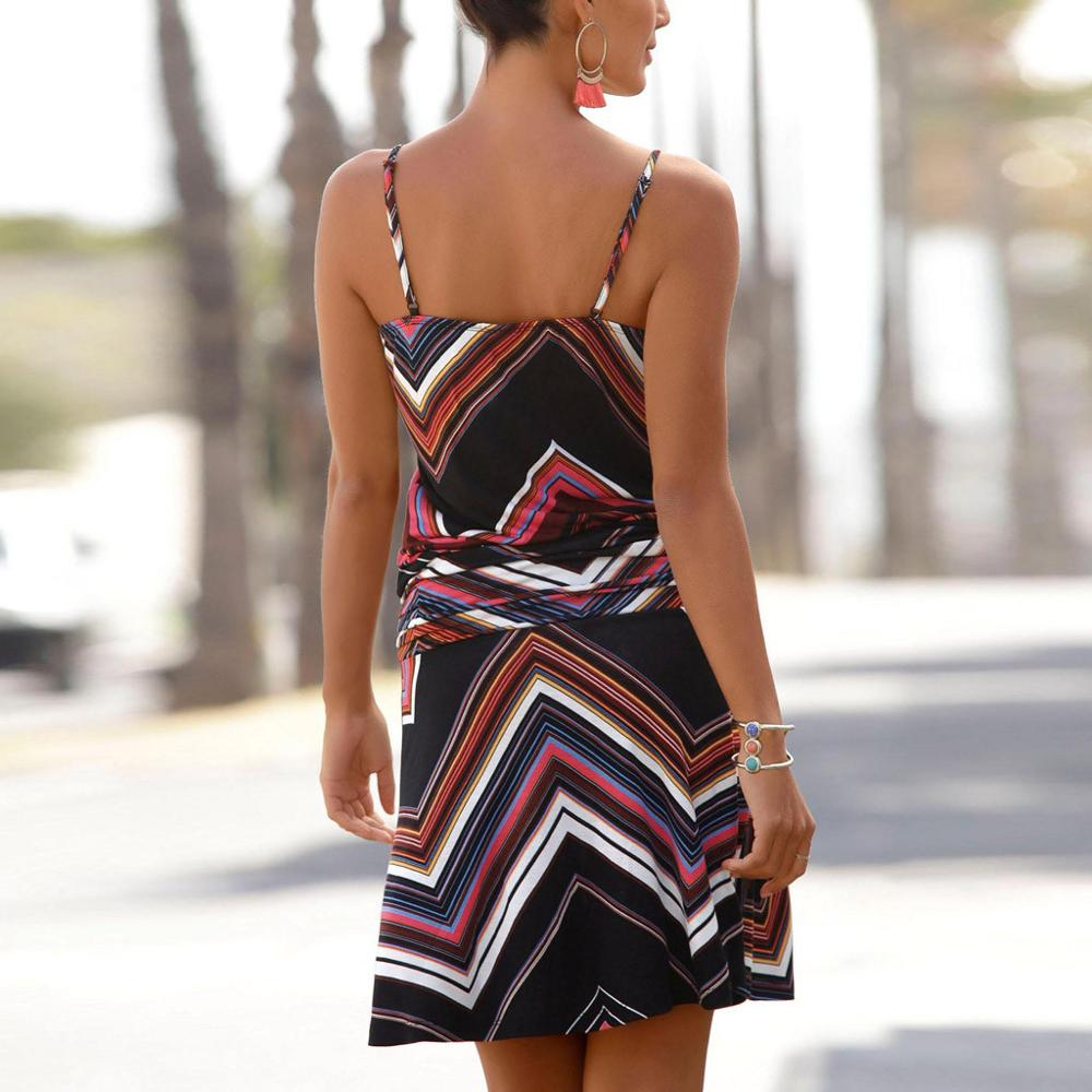 2019 Fashion Casual Women Printed Dress Sleeveless Printed O-Neck Beach Bodycon Mini Camis Sun Dresses