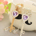 Long Strip Key Silver-plated Gold Plated Long Chain With Purple Crystal Key Necklace Women Sweet Statement Necklaces